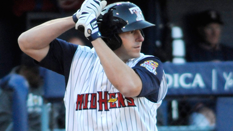 Brad Eldred leads Minor League baseball with 12 homers and 34 RBIs.